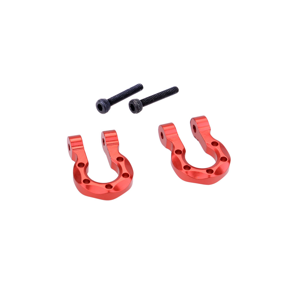 2Pcs Red Metal Bumper D-ring Tow Hook for 1/10 RC Crawler Car Traxxas TRX-4 Axial SCX10 90046 D90 2PCS