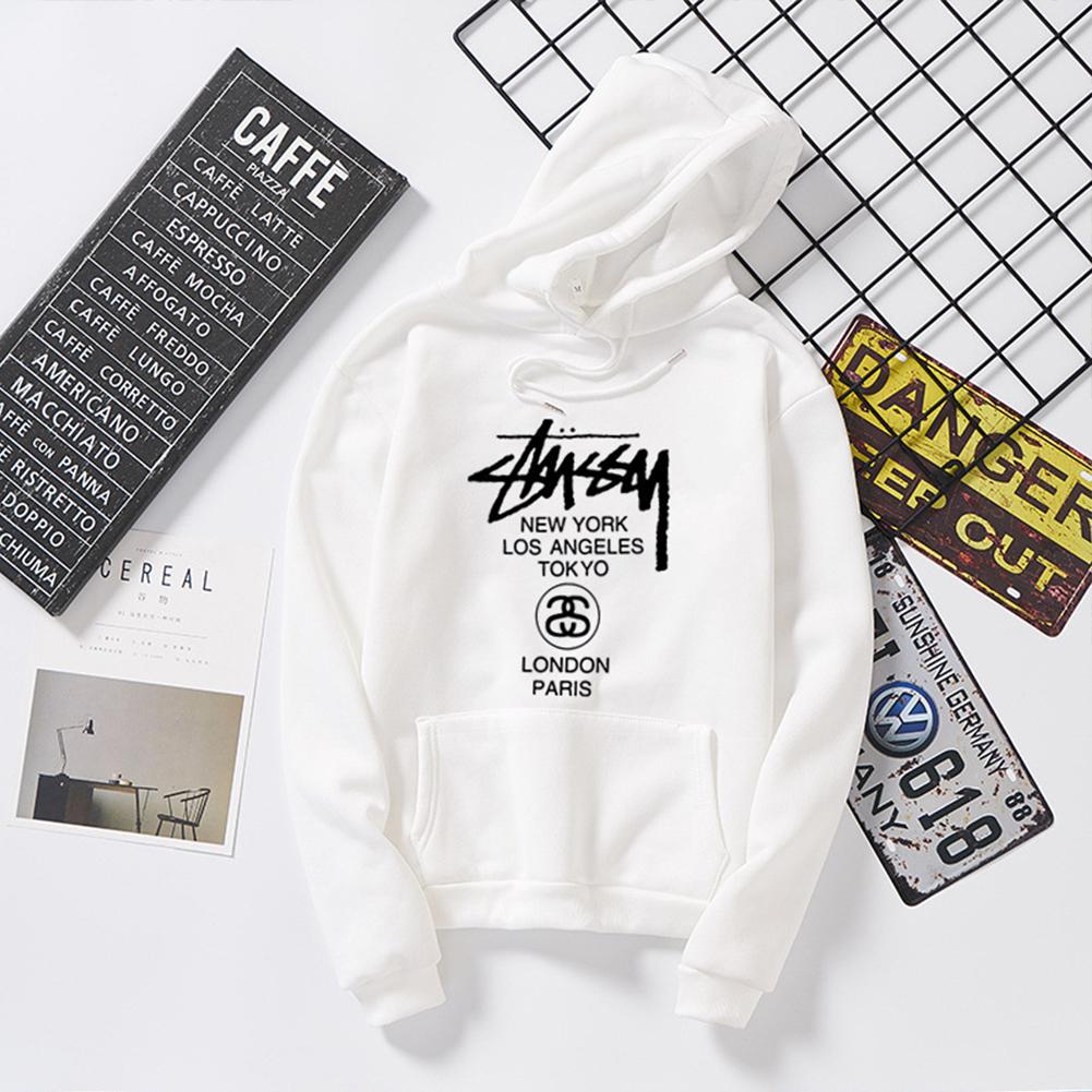 Men Women Couples Cool Stylish Letter Printing Long Sleeve Casual Sports Fleece Hooded Sweatshirts white_M