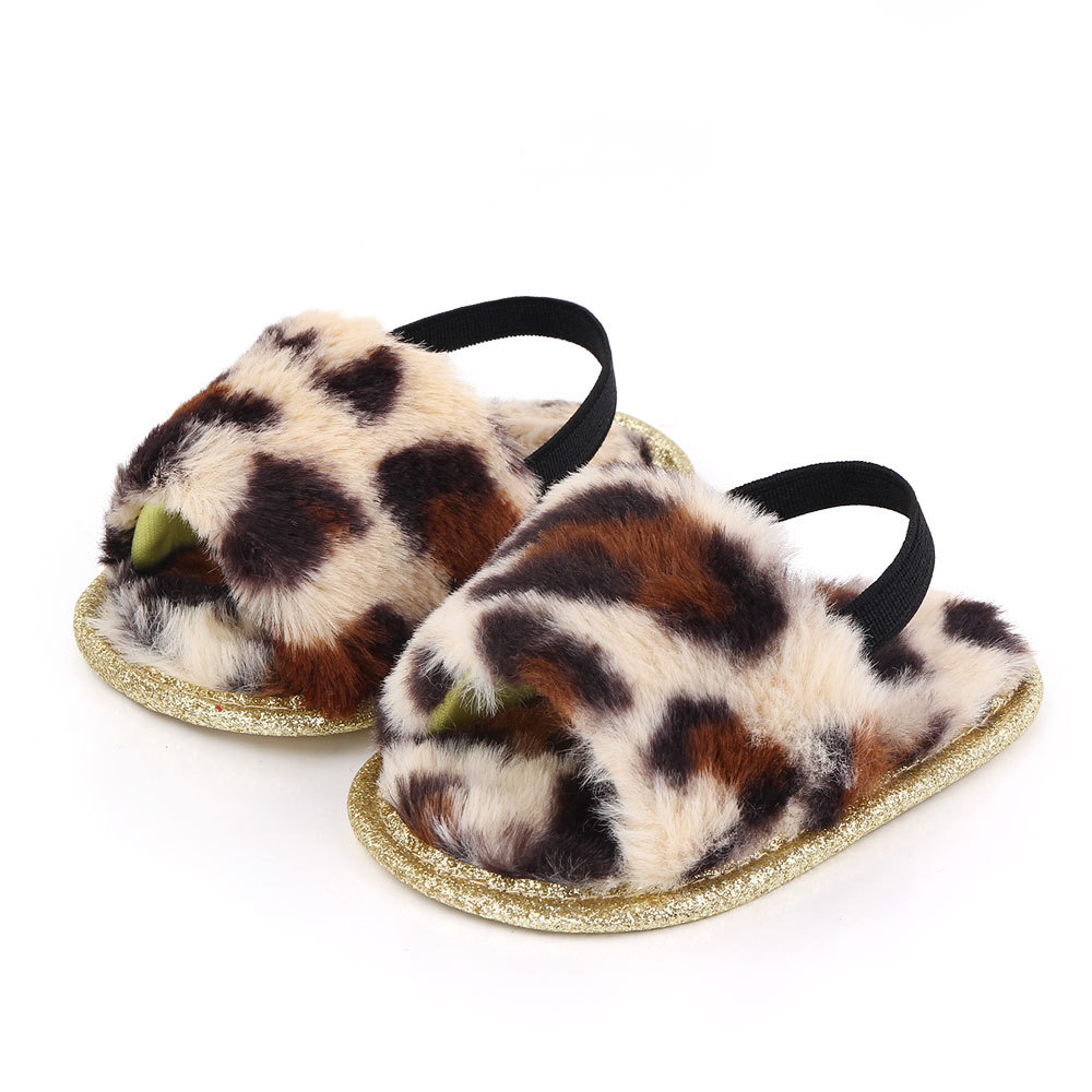 Baby Soft Shoes Soft-soled Glitter Cloth Bottom Toddler Shoes for 0-1 Year Old Baby Leopard_12cm