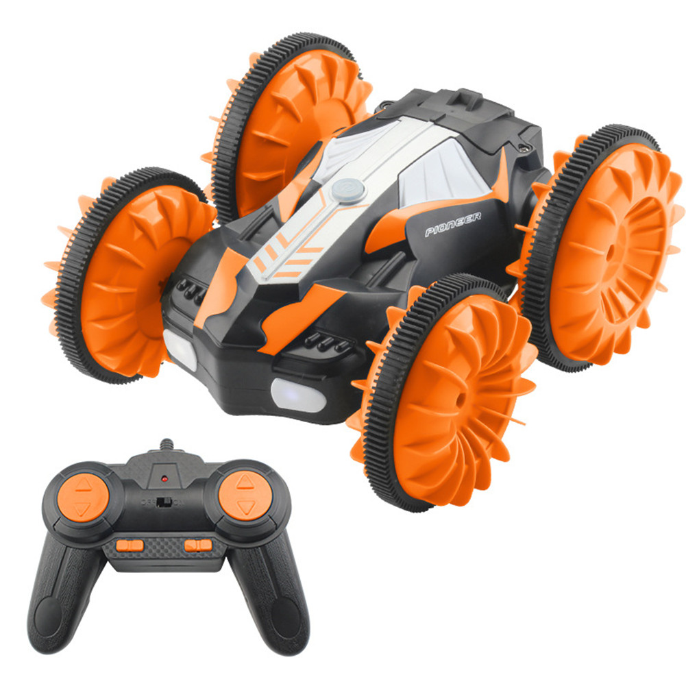 TAW-C10 2.4G Water Land Amphibious Agents Waterproof Double Side Remote Control Stunt Car Toy  Orange
