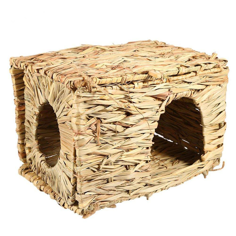 Natural Hand-made Grass Hut House Folding Straw Grass Cubby Nest Cage for Bunny Rabbit Hamster  As shown_L