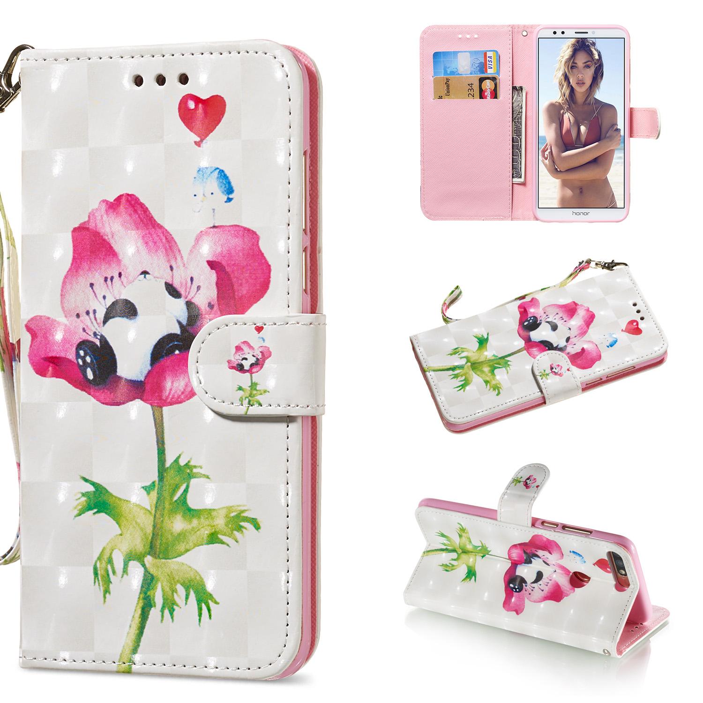 For HUAWEI honor 7C / Enjoy 8/Y7PRIME 2018/Y7 PRO 2018/NOVA2 LITE 3D Coloured Painted PU Magnetic Clasp Phone Case with Card Slots Bracket Lanyard Flower panda