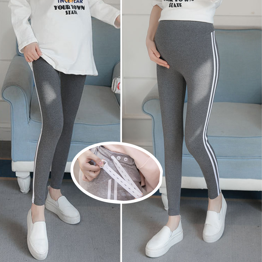 Simple Side Stripes Abdomen Support Leggings Trousers for Pregnant Woman  Dark gray (white strip)_M