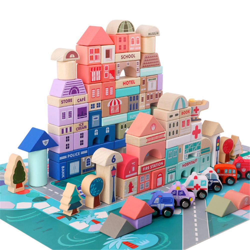 115PCS Children Toy Macaron Wooden Blocks Educational Toys 115 city blocks