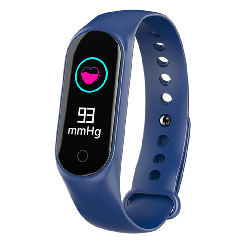 Smart Bracelet Color-screen IP67 Fitness Tracker Blood Pressure Heart Rate Monitor Smart Band for Android IOS Phone blue