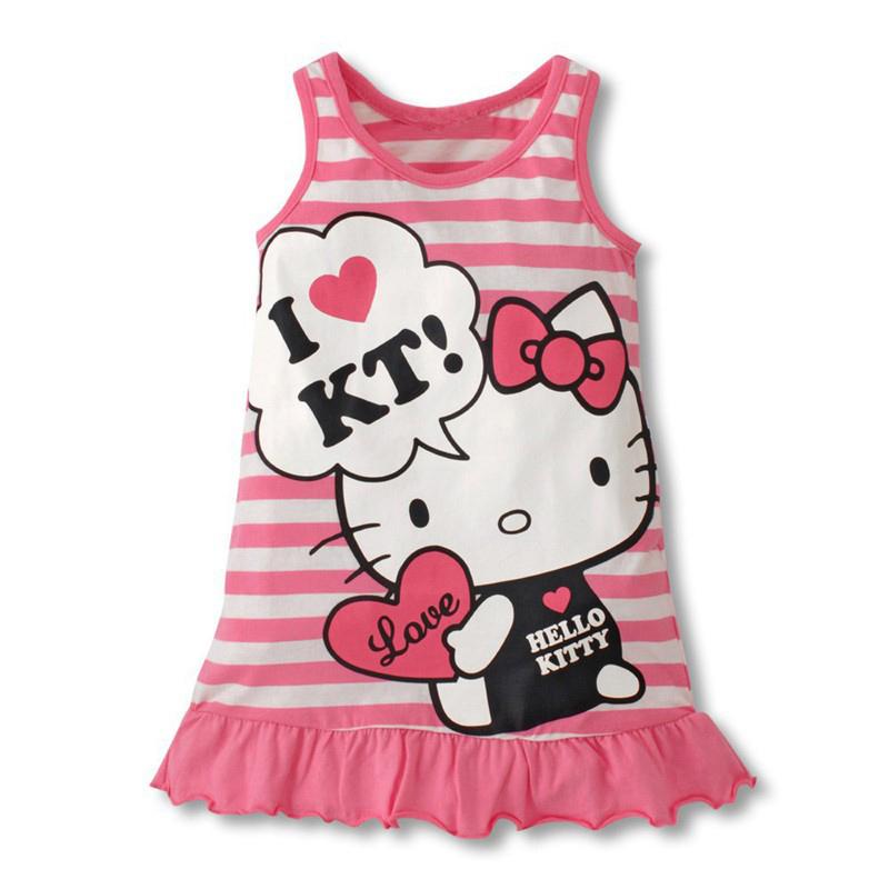 Kids Girls Cartoon Kitty Kt Printing Stripes Sleeveless Pleated Dress Pink_120cm