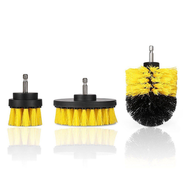 3Pcs/Set Automobile Tire Brush Electric Cleaning Brush Electric Drill Brush Home Cleaning Tool yellow