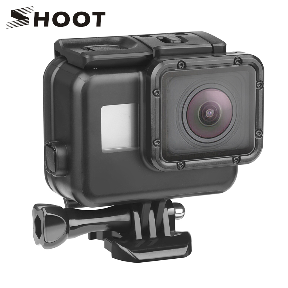 SHOOT 45m Waterproof Case for Gopro Hero 7 6 5 Black Action Camera Underwater Protective Case Mount for GoPro Accessory black