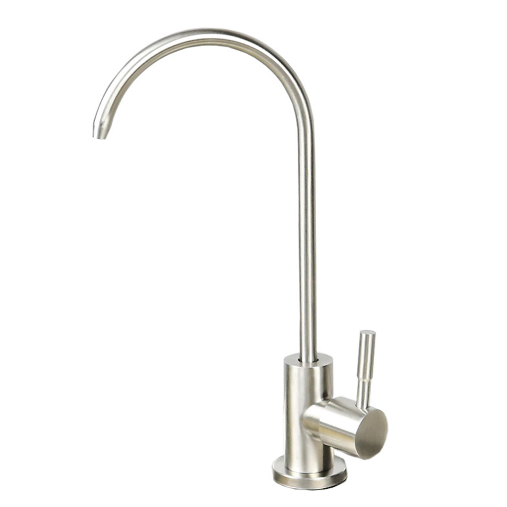 Kitchen Stainless Steel Goose Neck Single Cold Water Faucet for Water Purifier Drinking Fountain Tap Silver