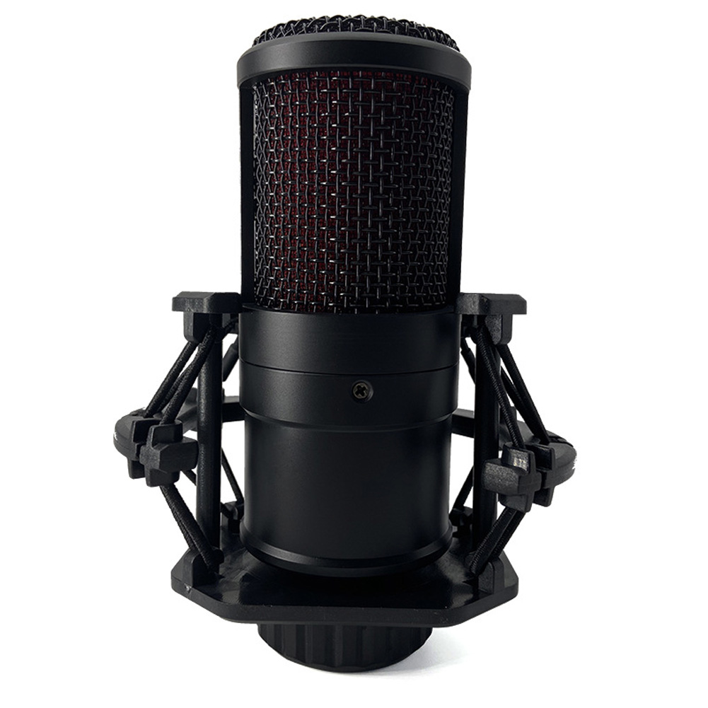 Condenser Recording Microphone Round Multi-function Microphone with Shock mounts black