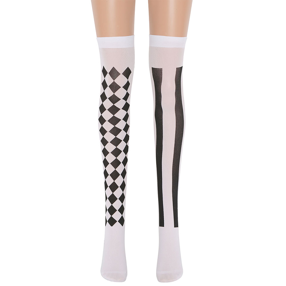 Knee Stockings Clown Socks Halloween Stocking Masquerade Accessories  White (black square vertical stripes)_free size