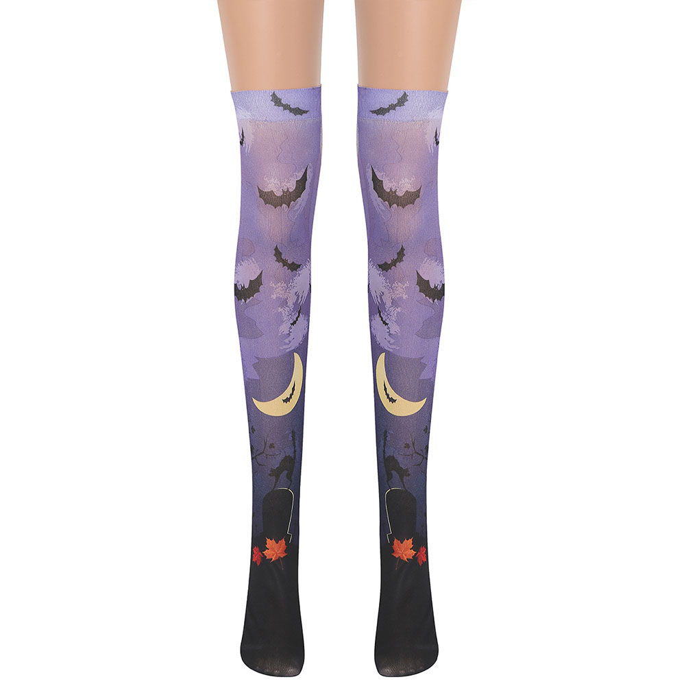 Knee Stockings Halloween Clown Over-knee Pale Purple Stocking Masquerade Accessories Pale purple Wild Wolf Dark Bat_One size