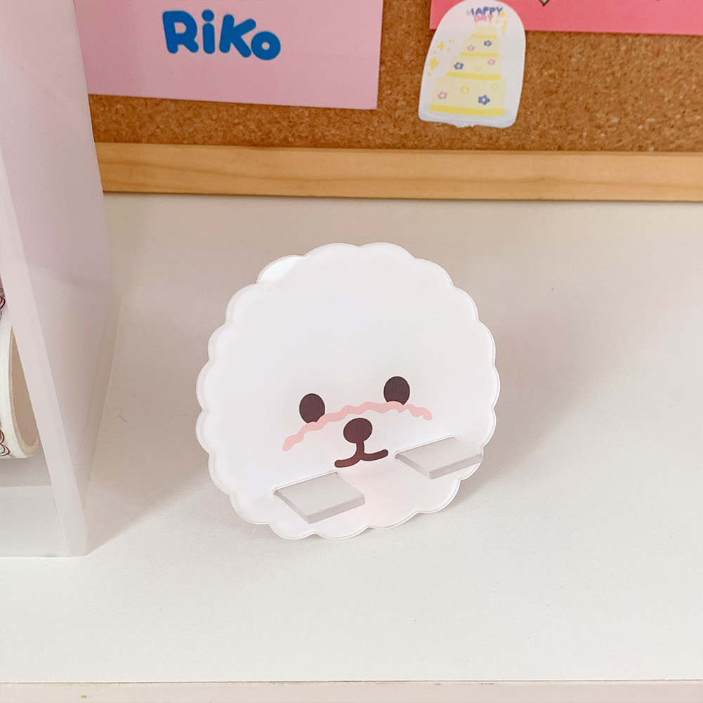 Mobile Phone Holder Cute mini Cartoon Phone Accessories Stand Desk Tablet Stand Desktop 4#White puppy