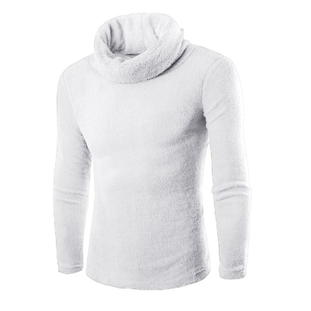 Slim Pullover Long Sleeves and High Collar Sweater Solid Color Base Shirt for Man white_L