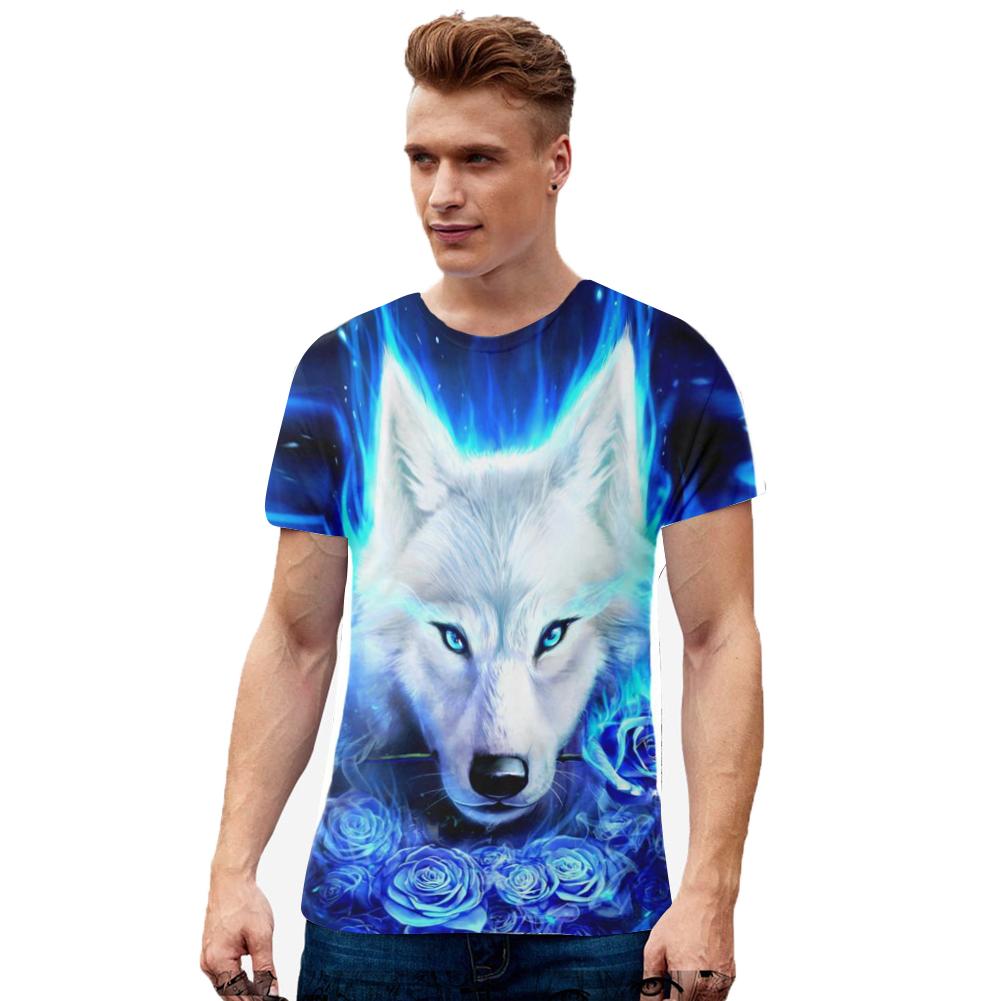 Men Women Cool 3D Digital Wolf Printing Round Collar Short Sleeve T-shirt TX-RW-1355_M