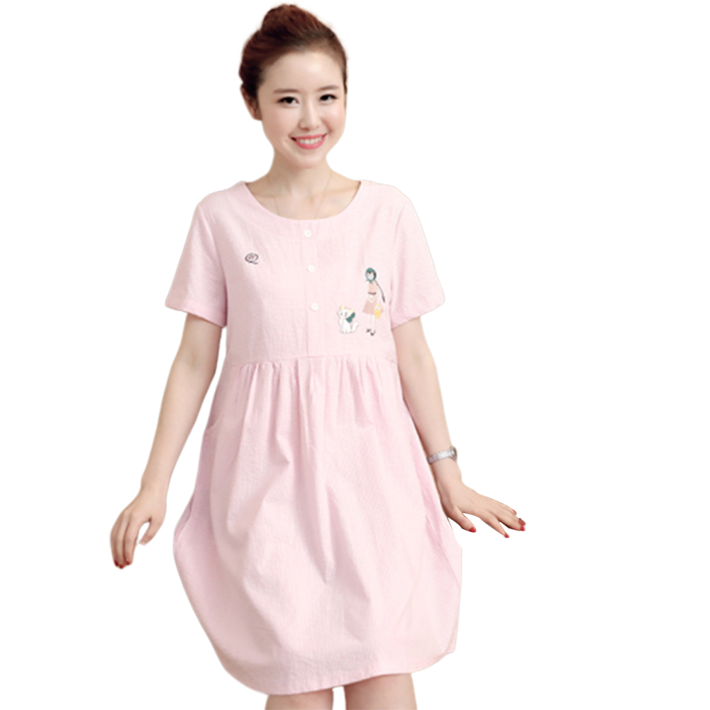 Women Summer Maternity Dress Cotton Short-sleeve Mid-length Dress Pink_XXL