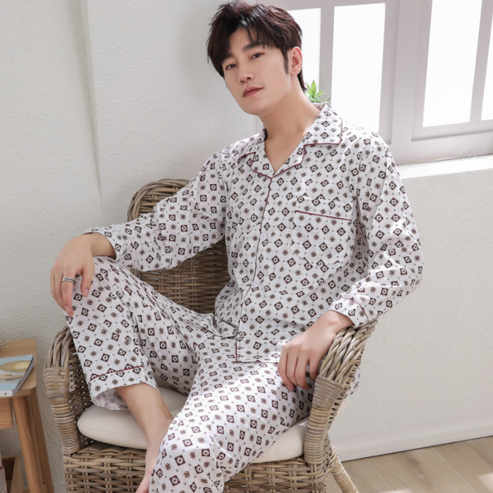 Men Winter Spring and Autumn Cotton Long Sleeve Casual Home Wear Pajamas Homewear 8824 red_XL