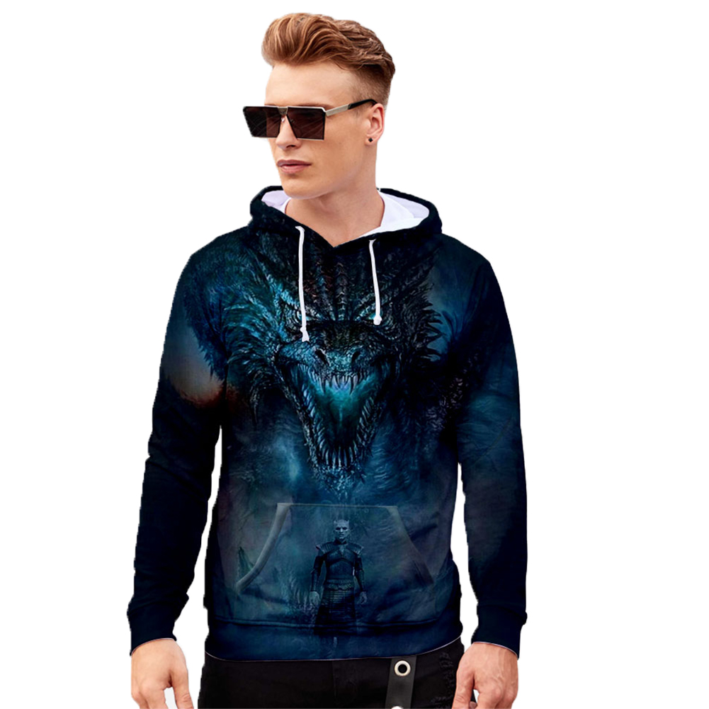 Men Women Stylish Cool Loose Game of Thrones 3D Printing Sweatshirt Hoodies Style E_XXL