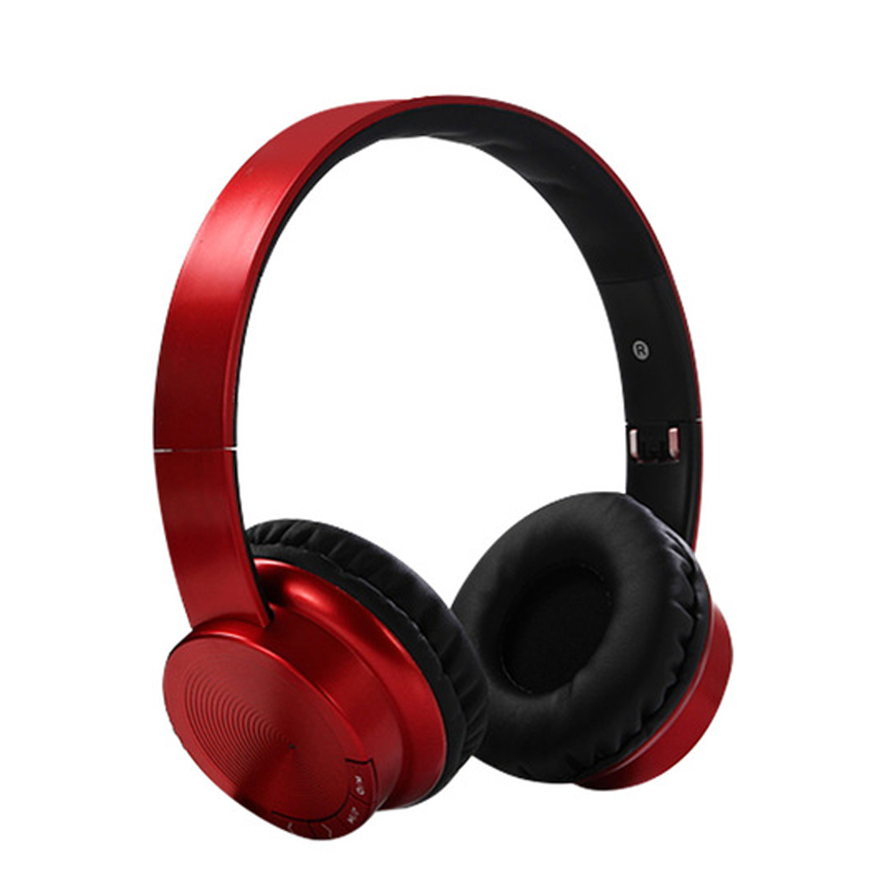 Head-mounted Foldable Plug In Card Heavy Bass Stereo Bluetooth Headset red