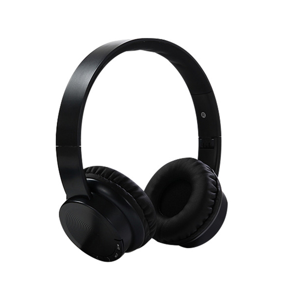 Head-mounted Foldable Plug In Card Heavy Bass Stereo Bluetooth Headset black