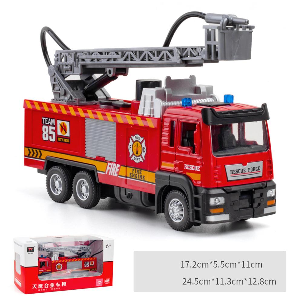 Simulation 1:32 Fire-fighting  Ladder  Alloy  Car  Model  Decoration Sound Light Spray Function Children Car Toy Ladder car