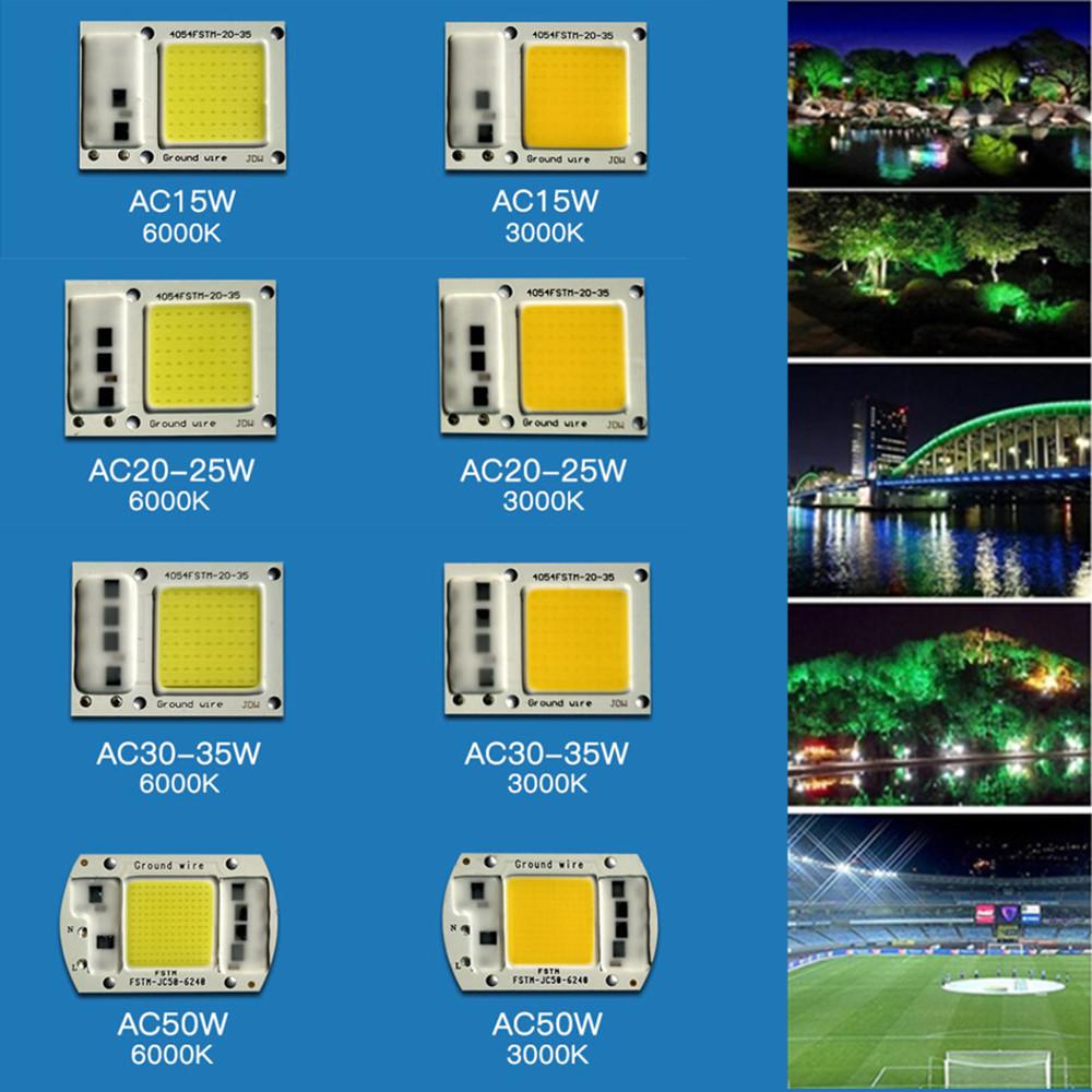 [Indonesia Direct] 15W/20W/30W/50W LED Drive-Free COB Chip Lamp 220V 50W warm light