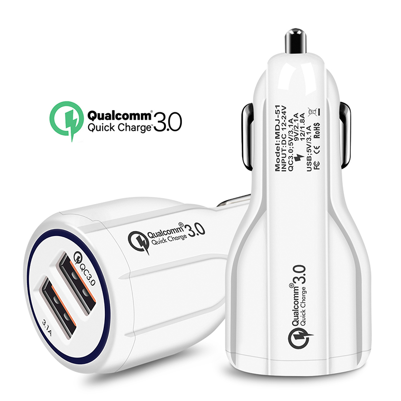 [Indonesia Direct] Quick Charge 3.0 Car Charger 2 Ports USB Fast Dual Adapter for Phone white