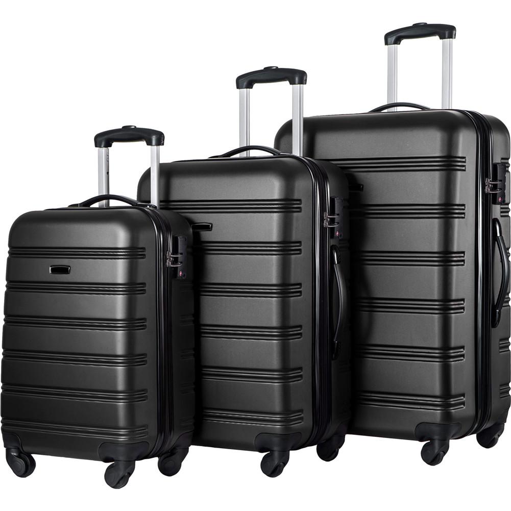 [US Direct] 3 Pcs/set Luggage  Set Hard-sided Suitcase With Tsa Lock Wheel Spinner Travel Suitcase(20