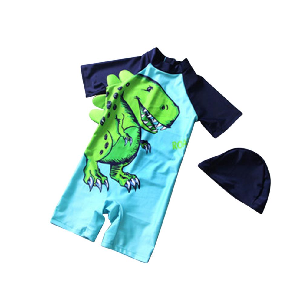 [Indonesia Direct] 2 Pcs/set Boys Kids Cartoon Dinosaur Printing Swimsuit Muslimah Swimwear with Cap Tyrannosaurus Rex (with cap)_L
