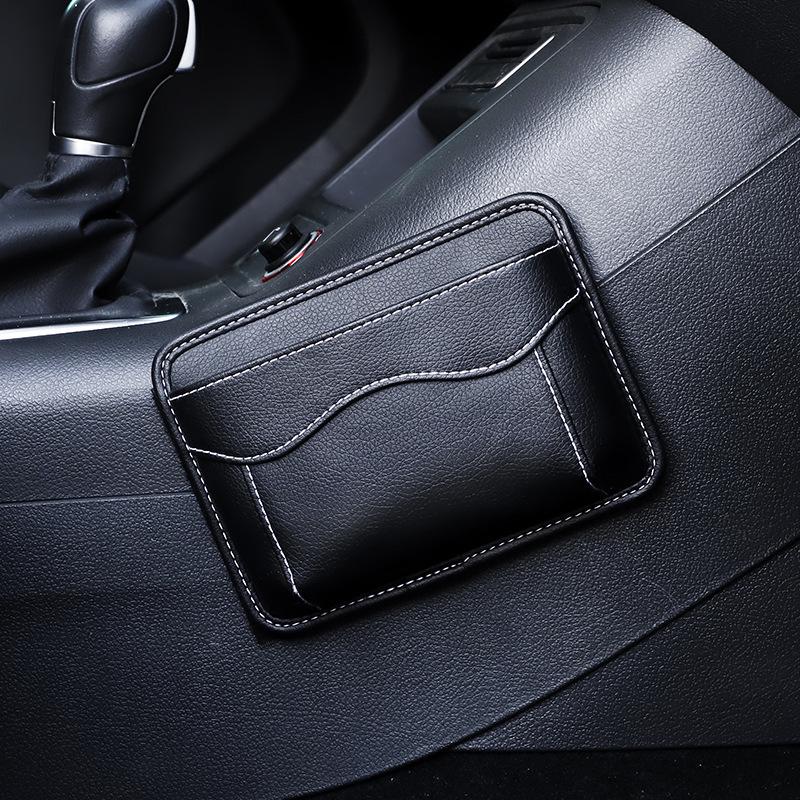 Leather Car Storage Pouch Multifunctional Hanging Bag Mobile Phone Case Storage Bag Storage Box Black