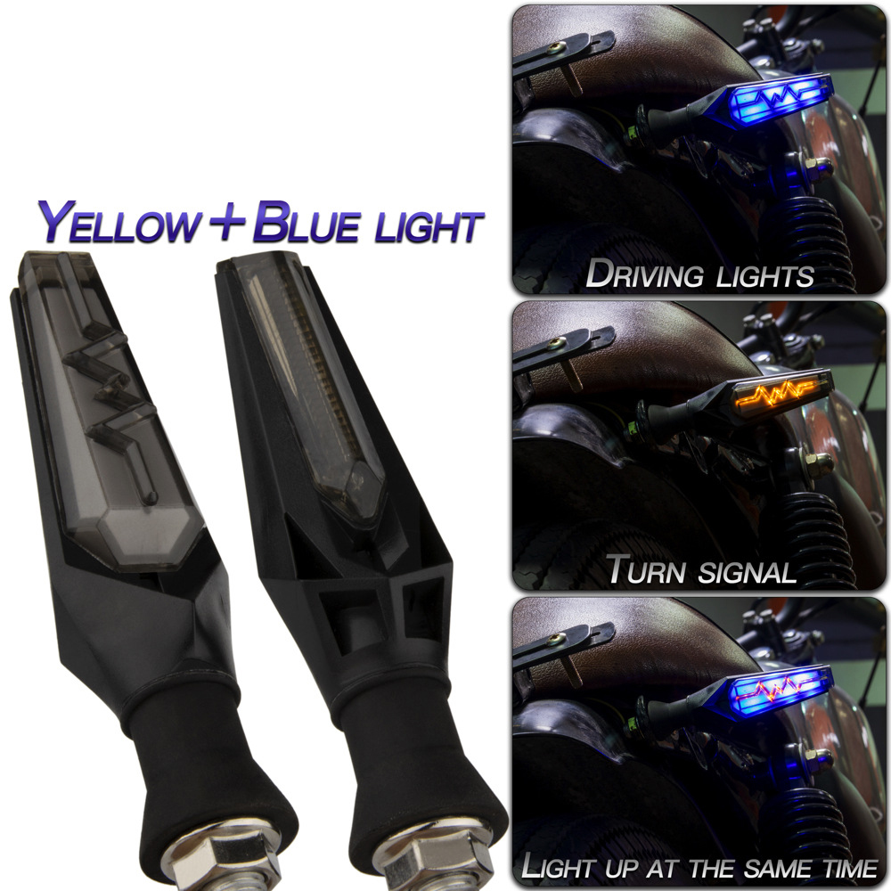 1 Pair Motorcycle Accessories Ecg Wave Type Flow Mode Led Turn Signal Lights Yellow+blue
