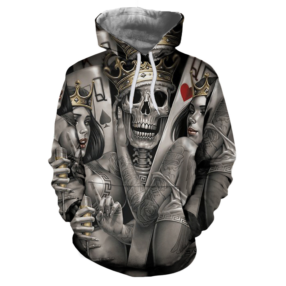 Unisex 3D Crown Skull Pattern Hoodies Couples Fashion Hooded Tops Baseball Sweatshirts as shown_L