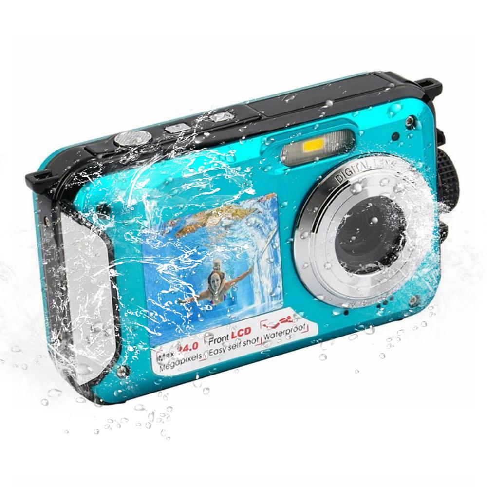 Underwater Camera Digital Camera 24 MP 1080P Camera with Selfie Mode blue