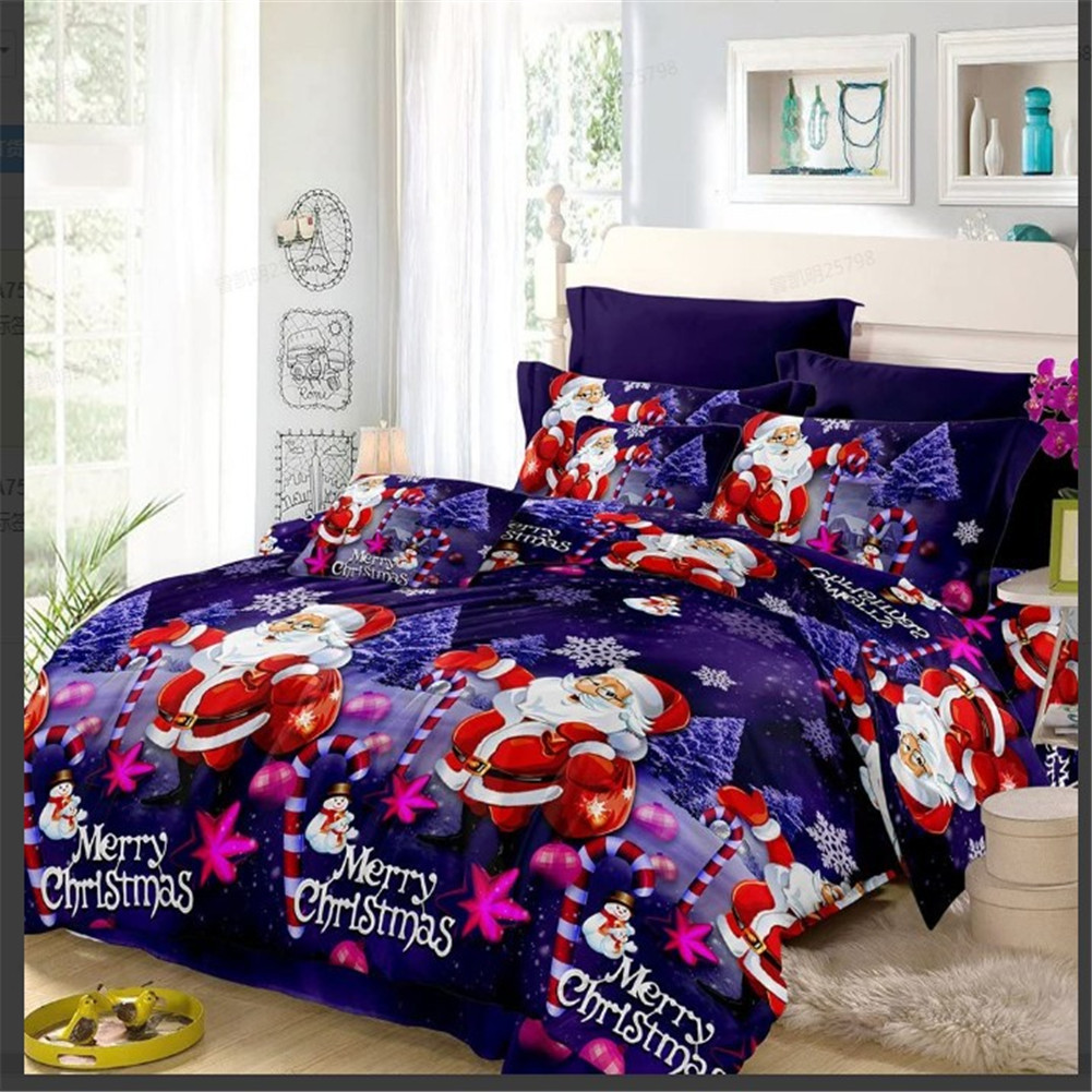 4Pcs/Set 3D Christmas Printed Duvet Cover Bed Sheet Pillowcase Set for Christmas New Year Holidays 2*2.3m