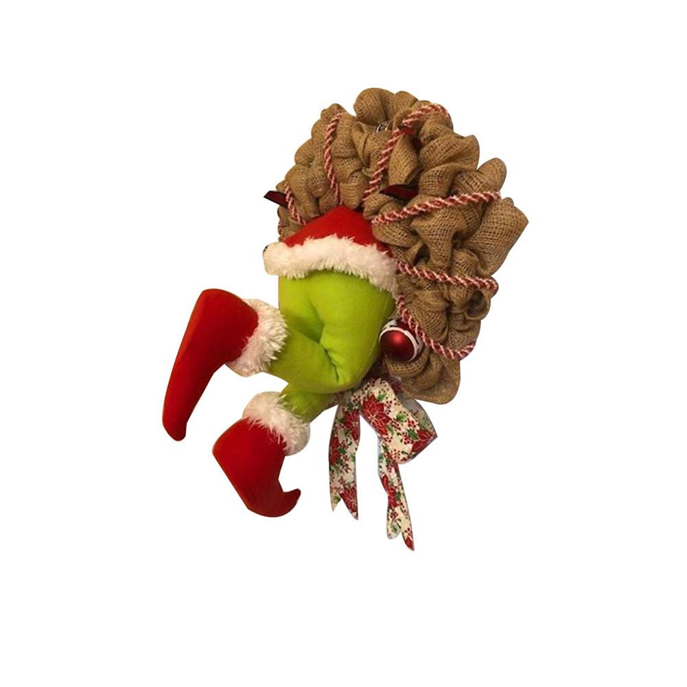 How the Grinch Stole Christmas Burlap Wreath Xmas Thief Stole Santa Garland Medium
