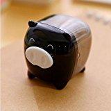 [EU Direct] Plastic Housing Pig Design Pencil Sharpener Tool for Students Black