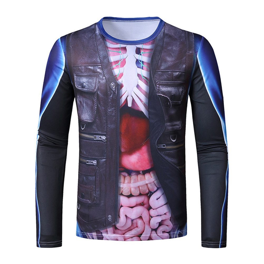 Men Long Sleeve T Shirt 3D Digital Viscera Printing Round Collar Halloween Tops Black_L