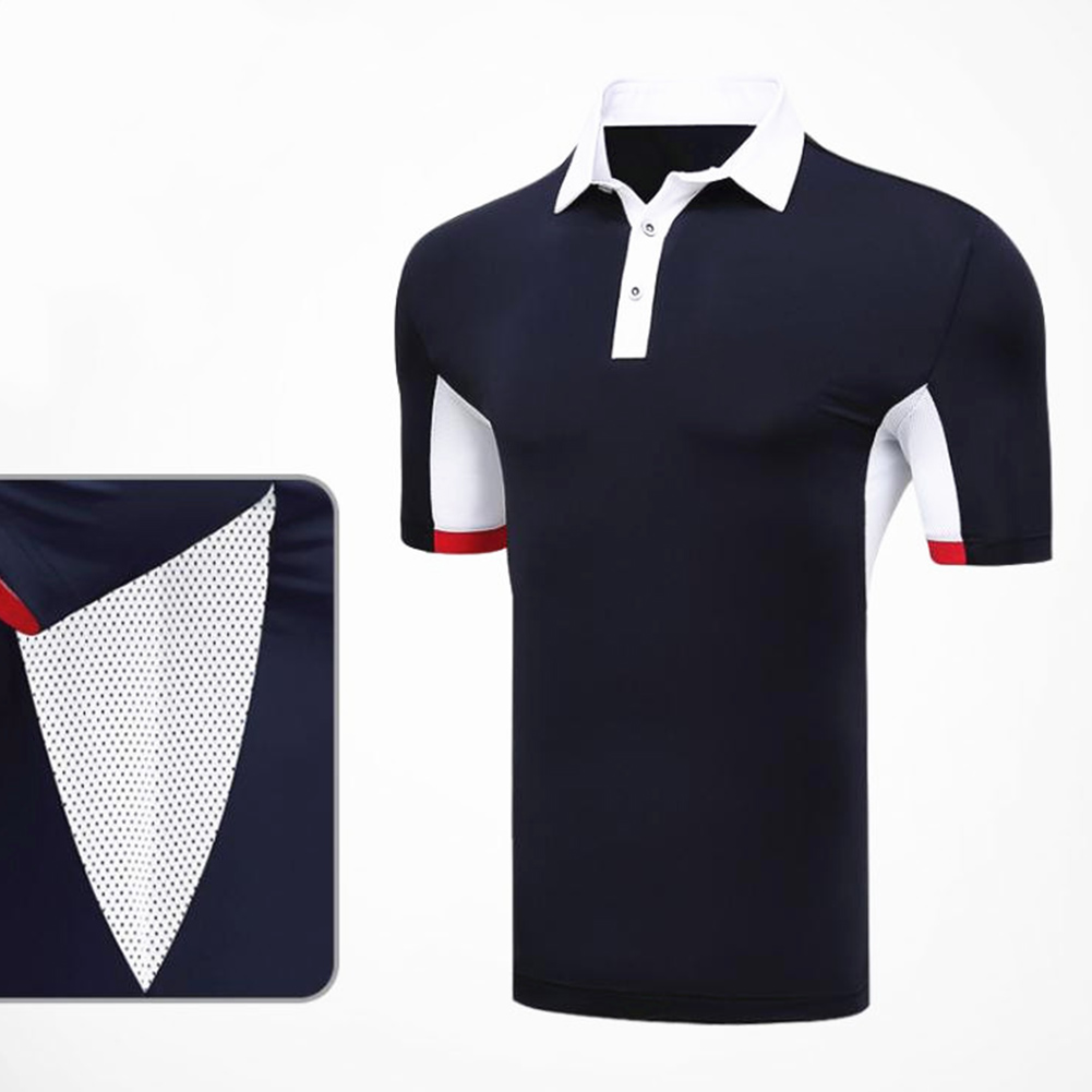 Comfortable Golf Clothes Male Short Sleeve T-shirt Fast Dry and Breathable Shirt YF126 navy blue_XXL