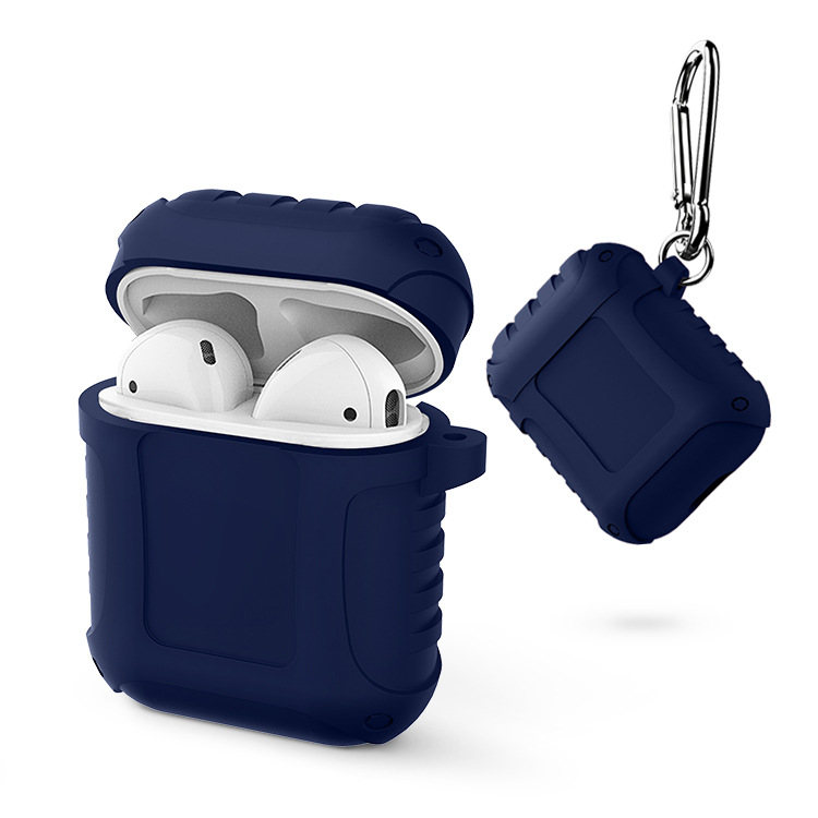 Silicone Protective Case Dustproof Portable Bluetooth Earphone Case for AirPods blue