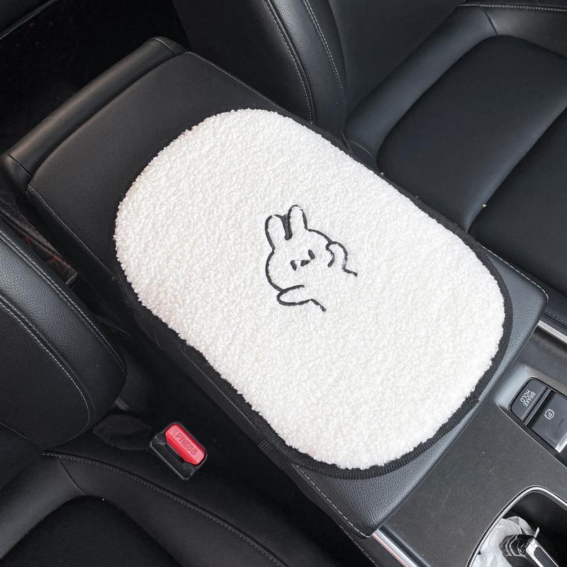 Car Cartoon Lamb Wool Seat Cushion Car  Cute Backrest Comfortable Soft Breathable Seat Armrest Cushion  Bunny armrest pad