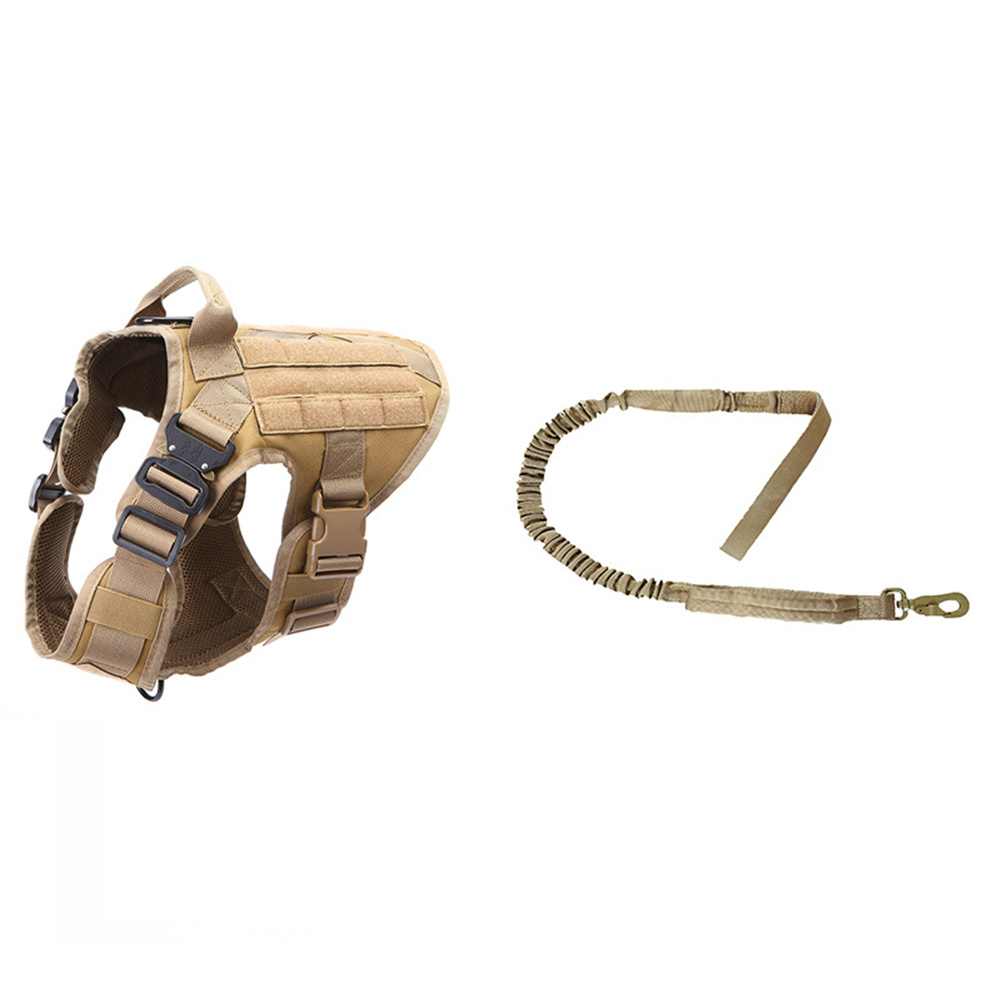 1000d Nylon Dog  Vest Outdoor Pet Vest With Buckle Quick Release Vest For Dog Brown + rope_XL
