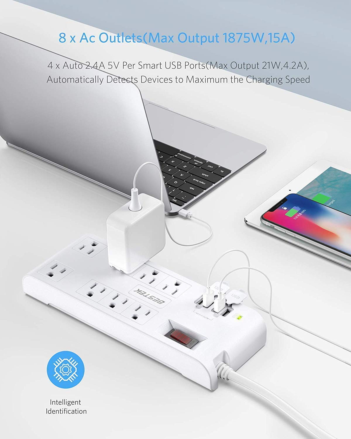 [US Direct] Original BESTEK 8-Outlet 15A Surge Protector Power Strip with USB, 5V 4.2A 4-Port Smart USB Charging Station, 600J, 12 Feet Heavy Duty Extension Cord (White) white_12 Feet