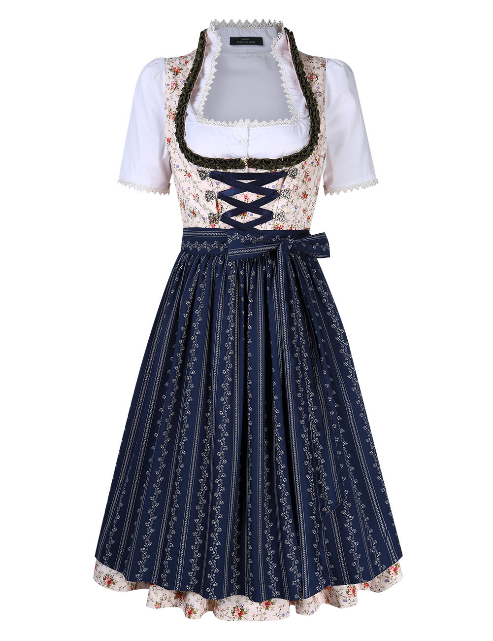 [EU Direct] Women's Floral Lace Up with Buckle Layered Casual Dresses Suit for Oktoberfest