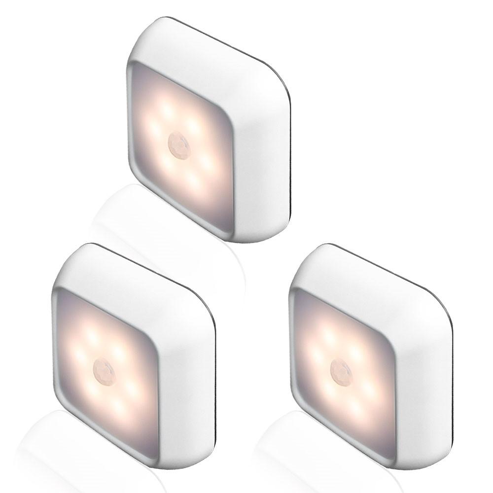 6LEDs Smart Square Shape Motion Sensor Night Light Cabinet Lamp for Home Supplies warm light_Silver
