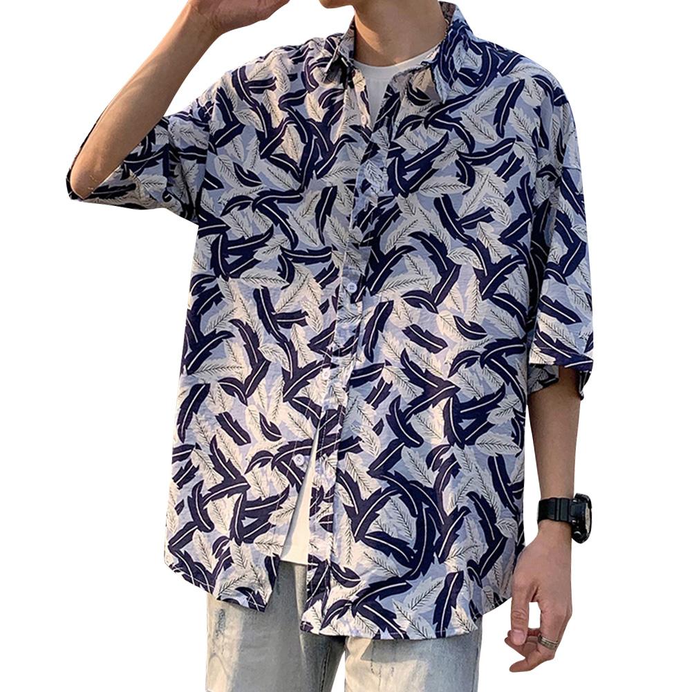 Women Men Leisure Shirt Personality Blue Floral Printing Short Sleeve Retro Hawaii Beach Shirt Top Summer C107 #_M