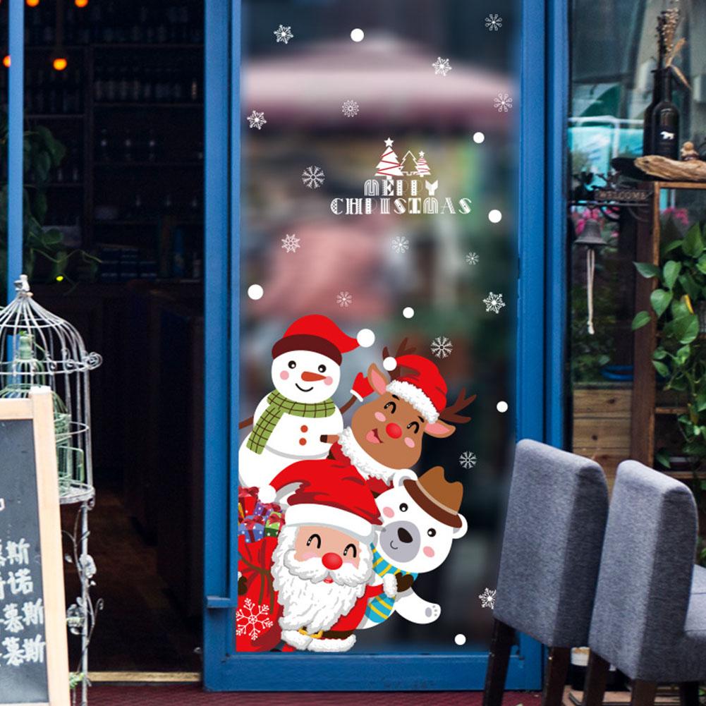 Cartoon Christmas Wall Sticker for Window Showcase Home Decor Decal 60*90cm