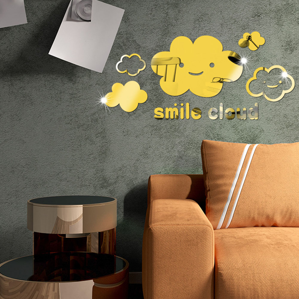 Removable Cartoon Cloud Shape Mirror Surface Wall Sticker for Kids Room Wall Decoration Gold
