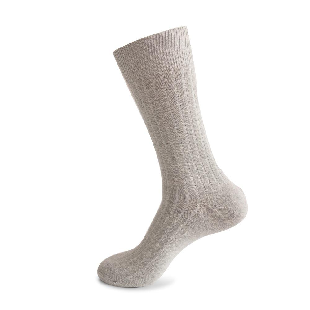 Men Casual Cotton Long Tube Sports Solid Color Fashion Socks Light gray_Plain pattern