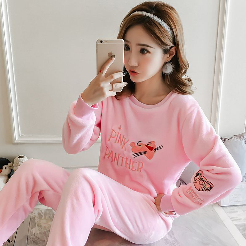Women Long Sleeves Coral Flannel Pajamas Lovely Students Sweet Thickened Warm Flannel Homewear Suit Pink Panther_L