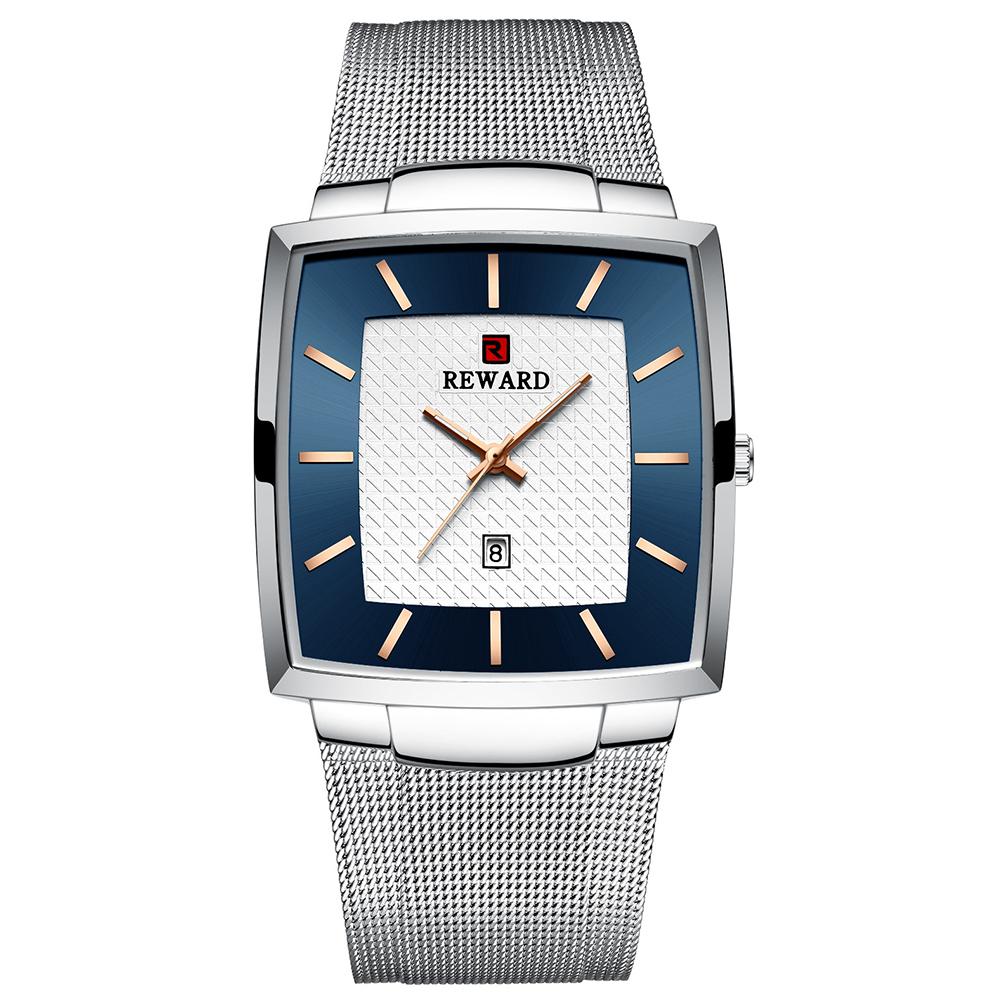 Business Wristwatch for Men Waterproof Square Watch Mesh Belt Quartz Watch white